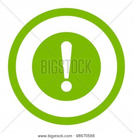 Problem flat eco green color rounded vector icon