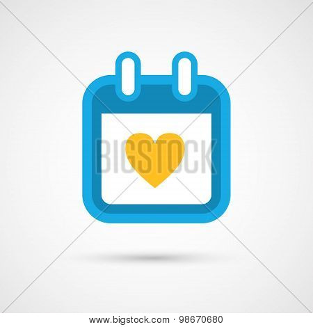 Vector Calendar Icon - heart
