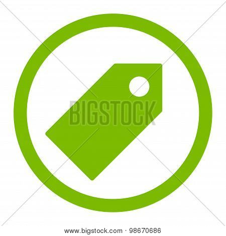 Tag flat eco green color rounded vector icon