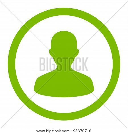 User flat eco green color rounded vector icon