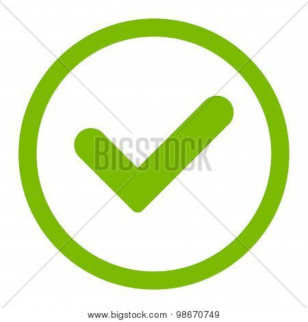 Yes flat eco green color rounded vector icon