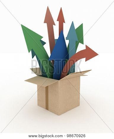 3d image of colorful arrows emerge out of the box