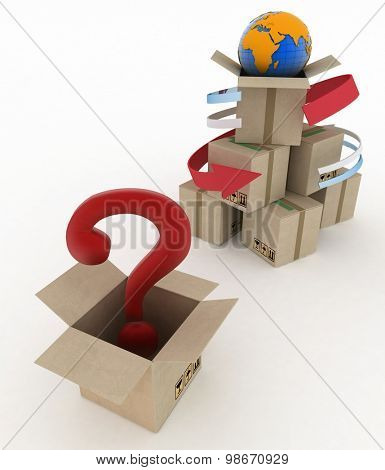 3d cardboard boxes around globe with question mark on white background. Worldwide shipping concept.