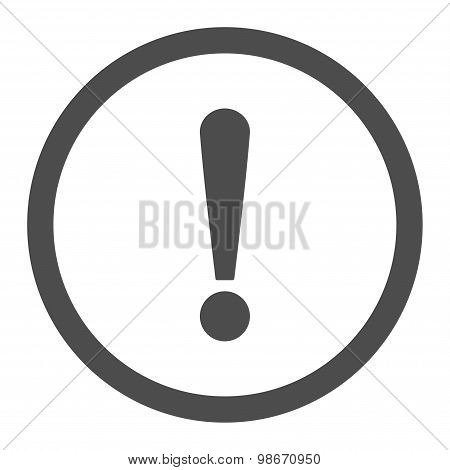 Exclamation Sign flat gray color rounded vector icon