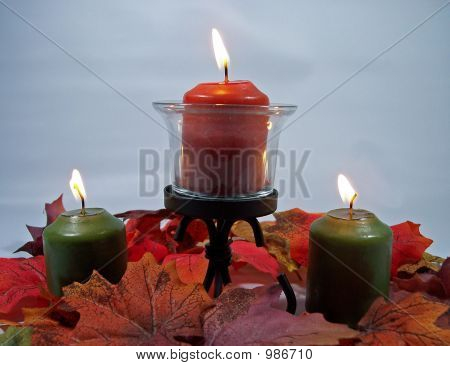 Autumn Colored Lit Candles