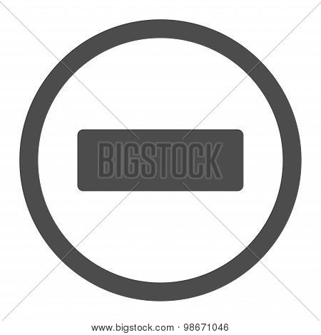 Minus flat gray color rounded vector icon