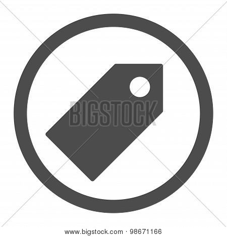 Tag flat gray color rounded vector icon
