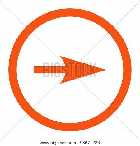 Arrow Axis X flat orange color rounded vector icon