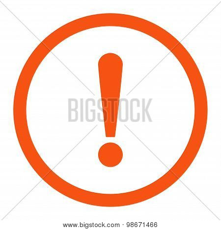 Exclamation Sign flat orange color rounded vector icon