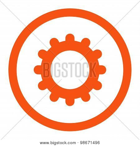 Gear flat orange color rounded vector icon