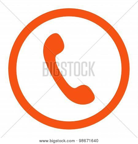 Phone flat orange color rounded vector icon