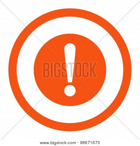 Problem flat orange color rounded vector icon