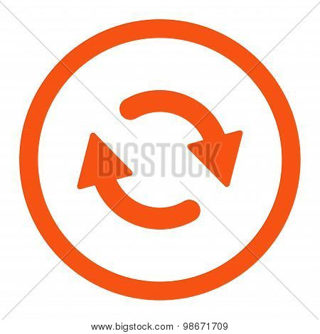 Refresh flat orange color rounded vector icon