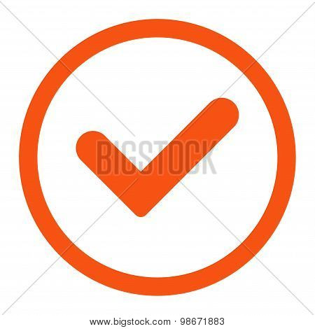 Yes flat orange color rounded vector icon