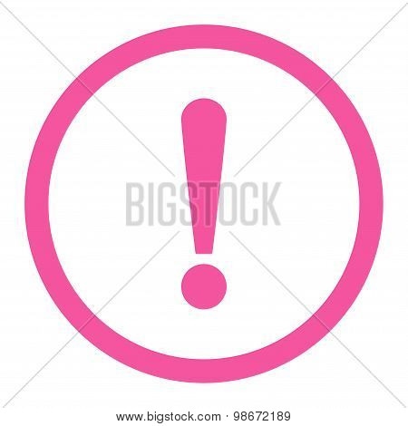Exclamation Sign flat pink color rounded vector icon