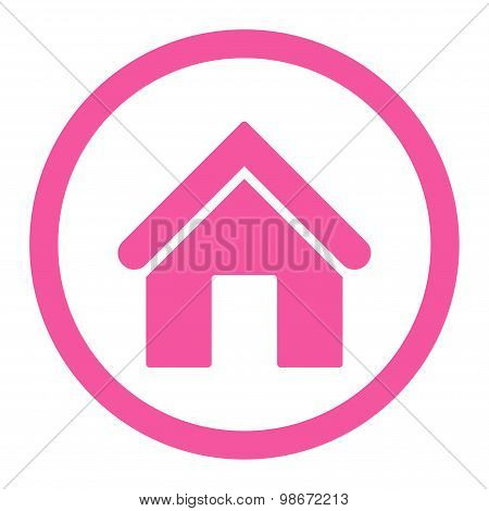 Home flat pink color rounded vector icon