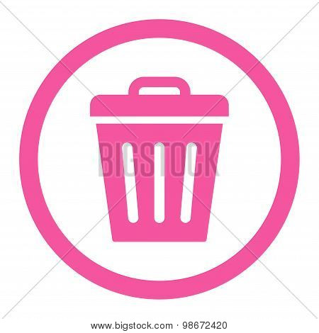 Trash Can flat pink color rounded vector icon