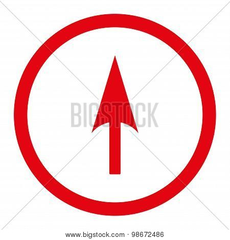 Arrow Axis Y flat red color rounded vector icon