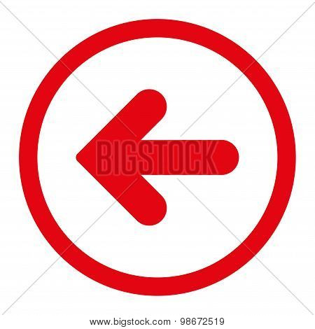 Arrow Left flat red color rounded vector icon