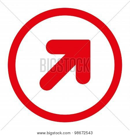 Arrow Up Right flat red color rounded vector icon