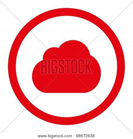 Cloud flat red color rounded vector icon