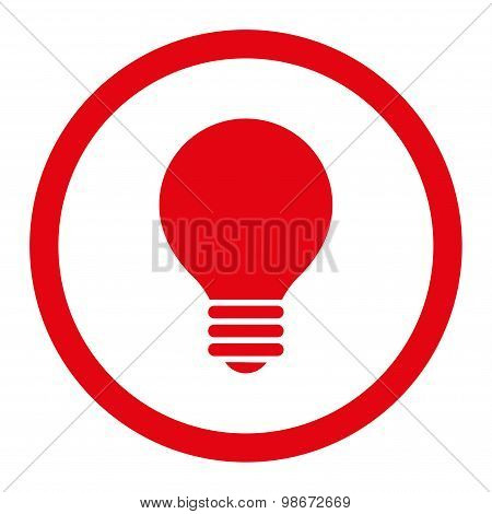 Electric Bulb flat red color rounded vector icon