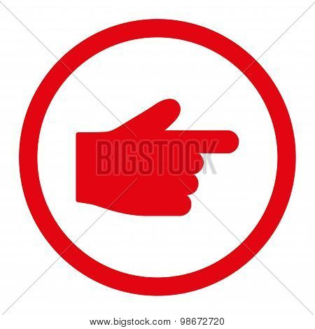 Index Finger flat red color rounded vector icon