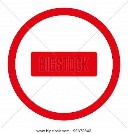 Minus flat red color rounded vector icon