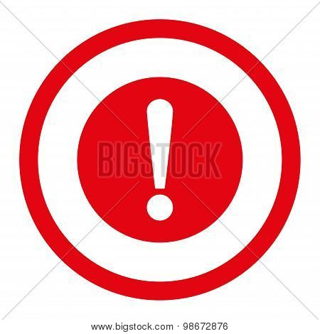 Problem flat red color rounded vector icon