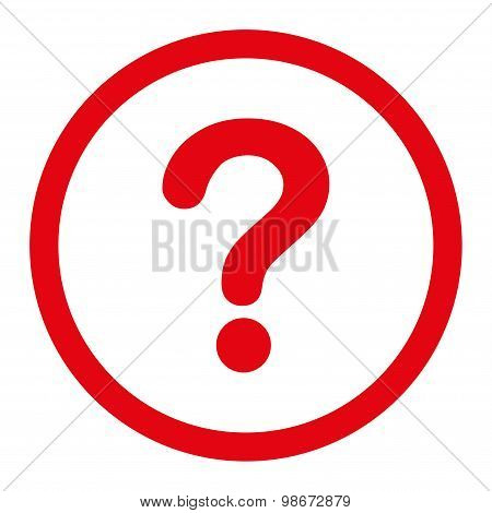 Question flat red color rounded vector icon