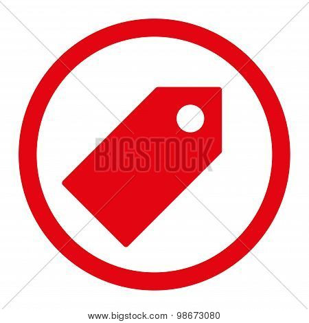 Tag flat red color rounded vector icon