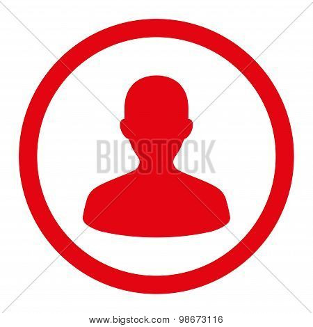 User flat red color rounded vector icon