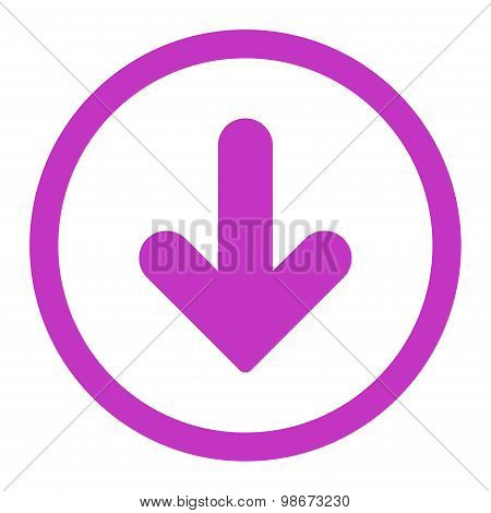 Arrow Down flat violet color rounded vector icon
