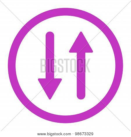 Arrows Exchange Vertical flat violet color rounded vector icon