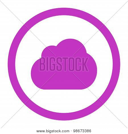 Cloud flat violet color rounded vector icon