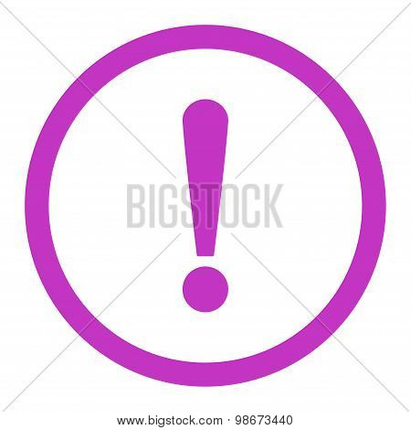 Exclamation Sign flat violet color rounded vector icon