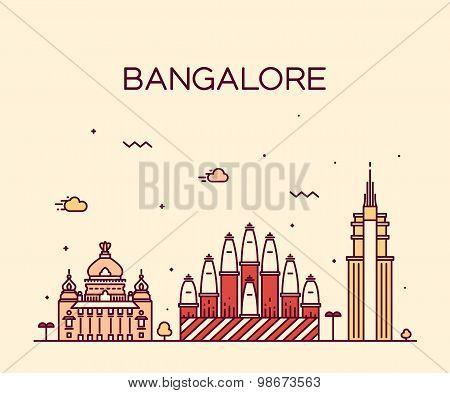 Bangalore skyline vector illustration linear