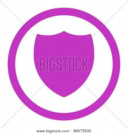 Shield flat violet color rounded vector icon
