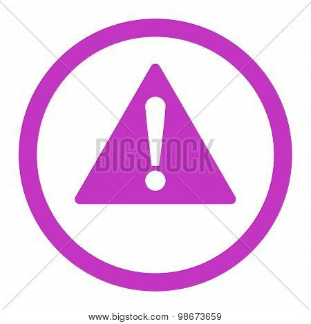 Warning flat violet color rounded vector icon