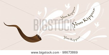 shofar, horn,  of Yom Kippur for Israeli and Jewish holiday