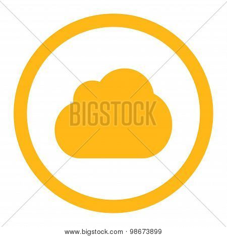 Cloud flat yellow color rounded vector icon
