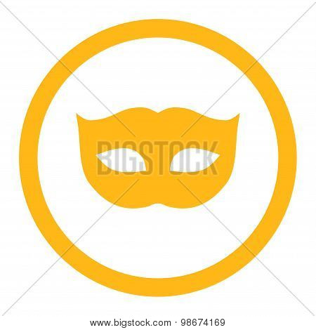 Privacy Mask flat yellow color rounded vector icon