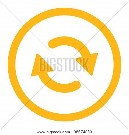 Refresh flat yellow color rounded vector icon