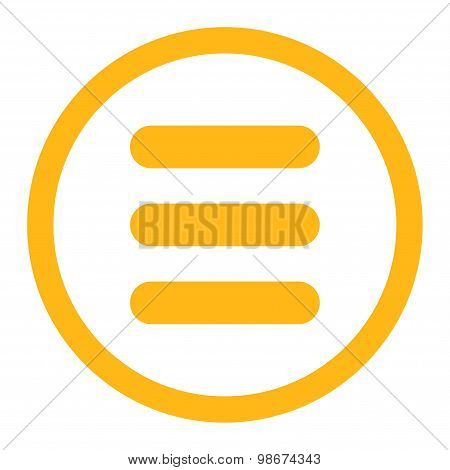 Stack flat yellow color rounded vector icon