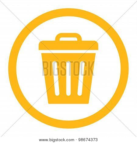 Trash Can flat yellow color rounded vector icon