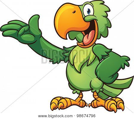 Cartoon green parrot. Vector clip art illustration with simple gradients. Each  part on a separate layer.