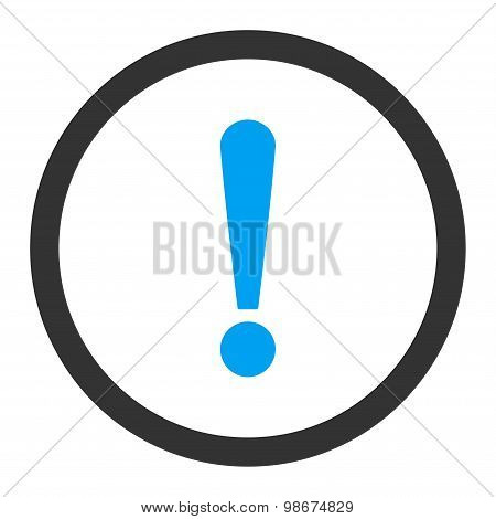 Exclamation Sign flat blue and gray colors rounded vector icon