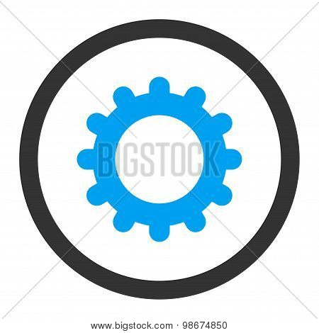 Gear flat blue and gray colors rounded vector icon