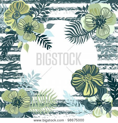Vintage Inspired Summer Tropical Flowers And Leaves.