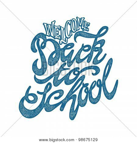 Welcome Back To School Hand Lettering Sketch Background.